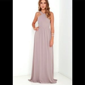 Lulu's air of romance taupe maxi dress